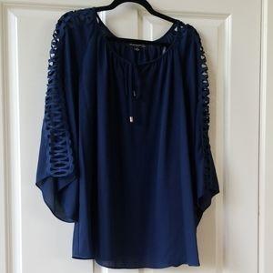Sharagano navy blouse